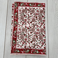 Block Printed Table Runner - Green and Red