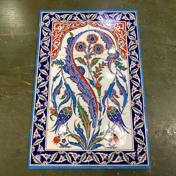 Turkish Tile Scene - 8 pce Carnations and Tulips