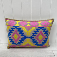 Embroidered Cushion - Yellow and Pink