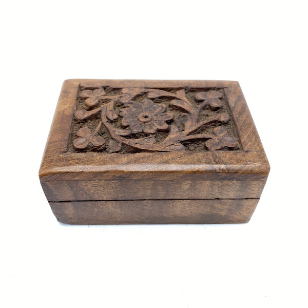 Wooden Box with Carved Flower Lid