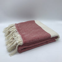 Turkish Towel Diamond Weave Red