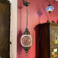 Turkish Mosaic Hanging Lamp - Round - Orange Flower