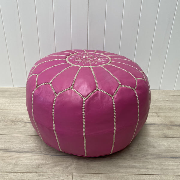 Moroccan Leather Ottoman - Pink, white stitching