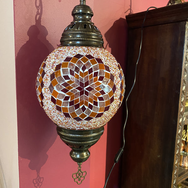 Turkish Mosaic Hanging Lamp - Orange Flower
