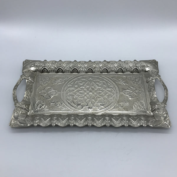 Turkish  Metal Tray - Silver