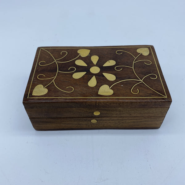 Wooden Box  with Metal Inlay and Removable Lid