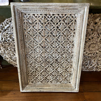 Framed Carved Screen - Grey Wash Finish