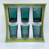 Moroccan Tea Glasses - Marjana Turquoise, Set of 6