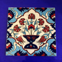 Turkish Handmade Tile - Red Carnation