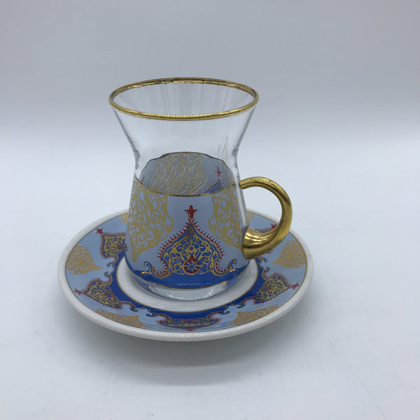 Turkish Tea Cup and Saucer - Blue/Gold