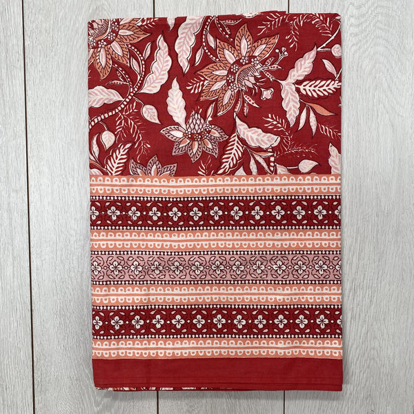 Block Printed Tablecloth - Red and Pink