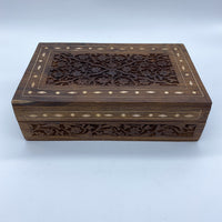 Carved Wooden Box With Inlay