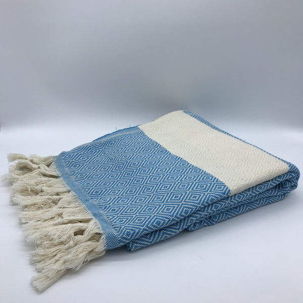 Turkish Towel Diamond Weave Blue