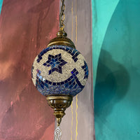 Turkish Ceiling Light - Round -Blue Star