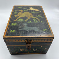 Vintage Hand Painted Wooden Box - Camel