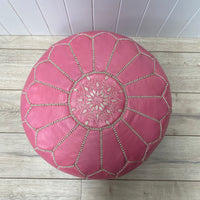 Moroccan Leather Ottoman - Light Pink