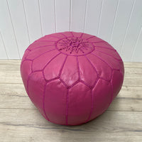 Moroccan Leather Ottoman - Pink