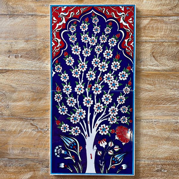 Turkish Tile - 2 pce Spring Tree - Dark Blue