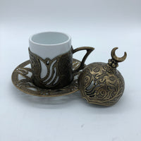 Turkish Coffee Cup and Saucer - Bronze