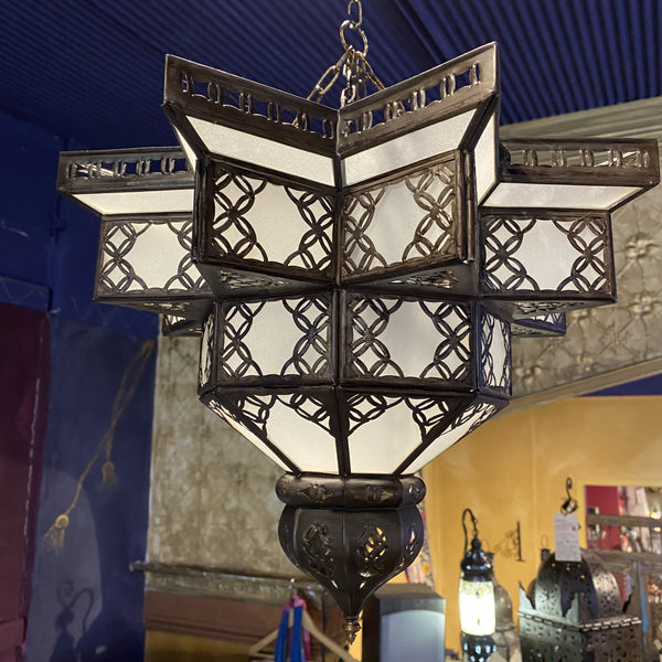 Moroccan Hanging Lantern - Frosted Star, Small
