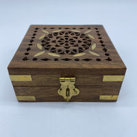 Wooden Box - Square, Metal Inlay