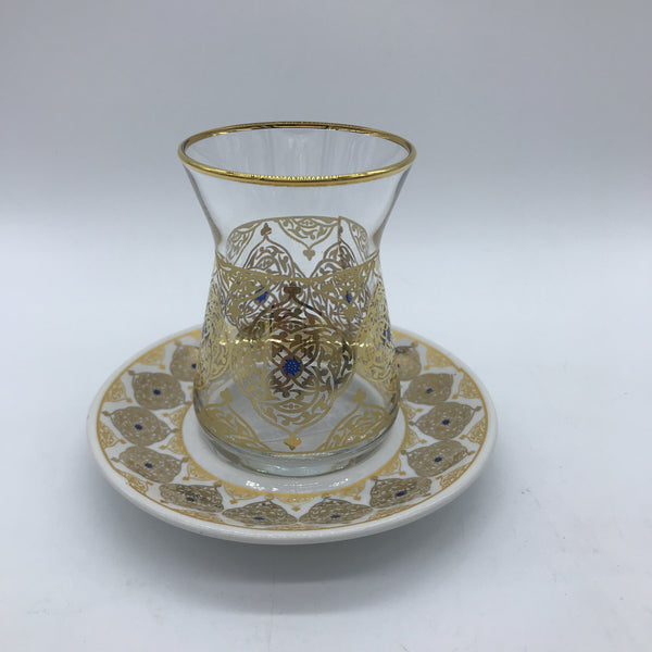 Turkish Tea Cup and Saucer - Gold