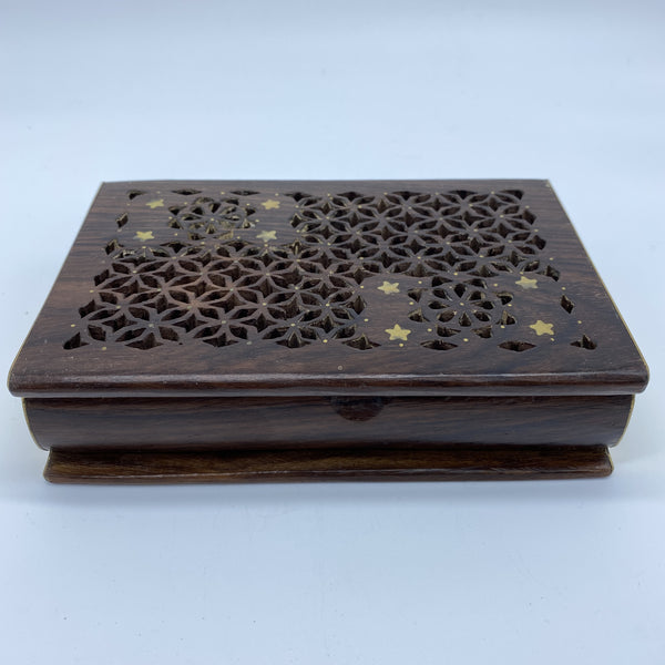 Wooden Box - Rectangular with Gold Star , Large
