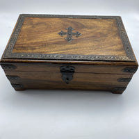 Indian Wooden Box - Metal Cross, Large