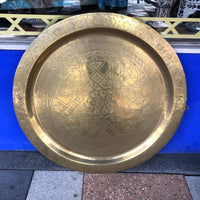 Moroccan Solid Brass Tray - 89cm