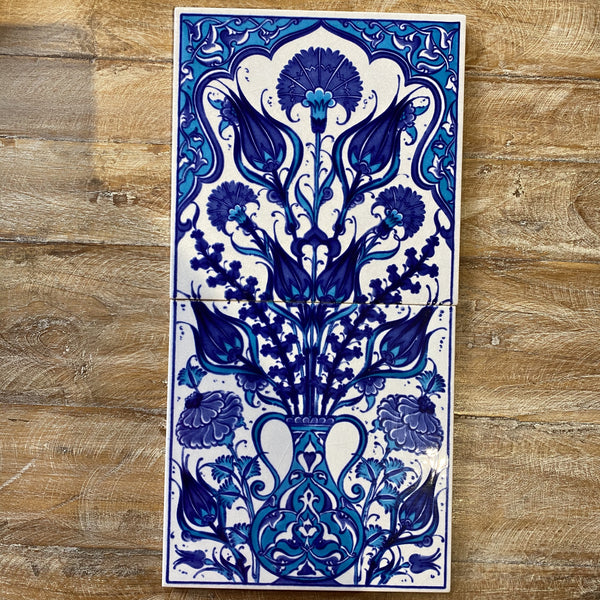 Turkish Tile Scene - Tulips in Vase, Blue