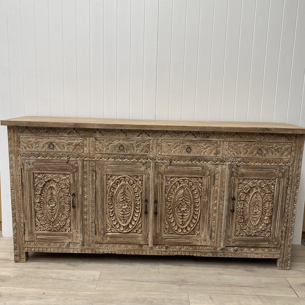4 Door, 4 Drawer Hand Carved Sideboard