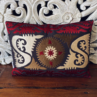 Embroidered Cushion - Brown and Red