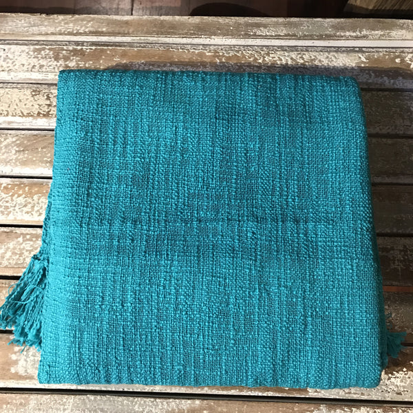 Handloomed Throw - Teal Green