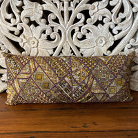 Embroidered Cushion - Purple and Gold