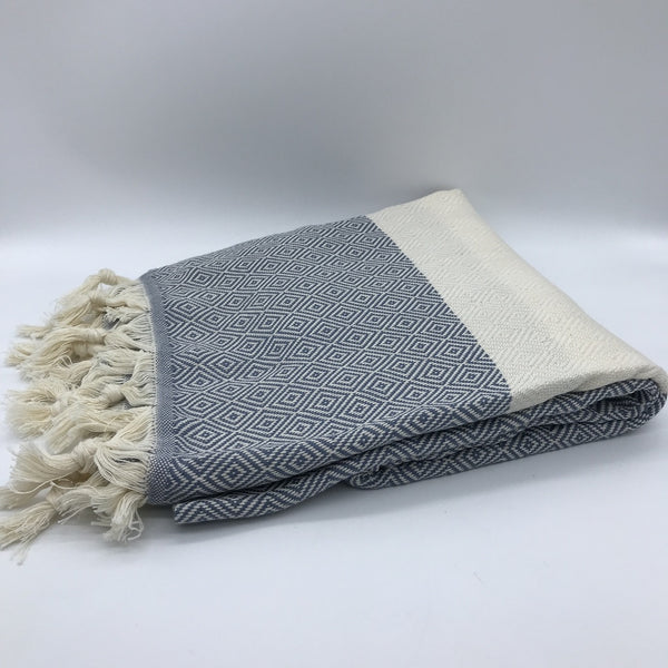 Turkish Towel Diamond Weave Grey