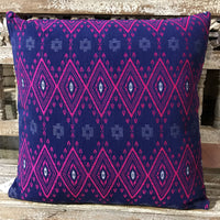 Embroidered Cushion - Purple and Pink