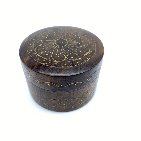 Wooden Round  Box - Metal Inlay