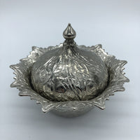 Turkish Metal Sweets/Sugar Bowl - Silver
