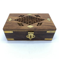 Wooden Hinged Box - Metal Inlay and Cut Out