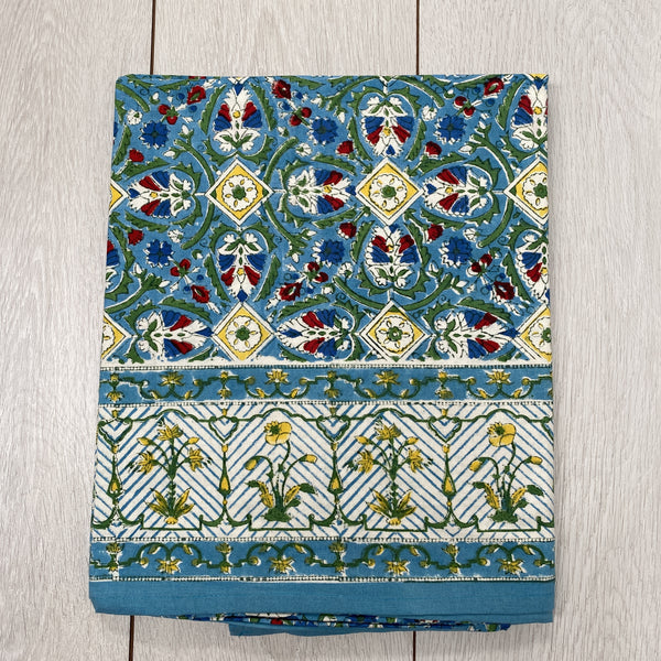 Block Printed Tablecloth - Blue and Red
