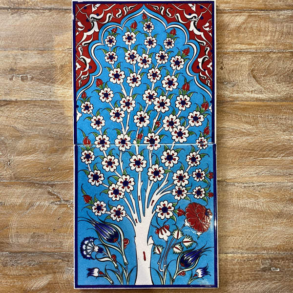 Turkish Tile - 2 pce Spring Tree - Light Blue