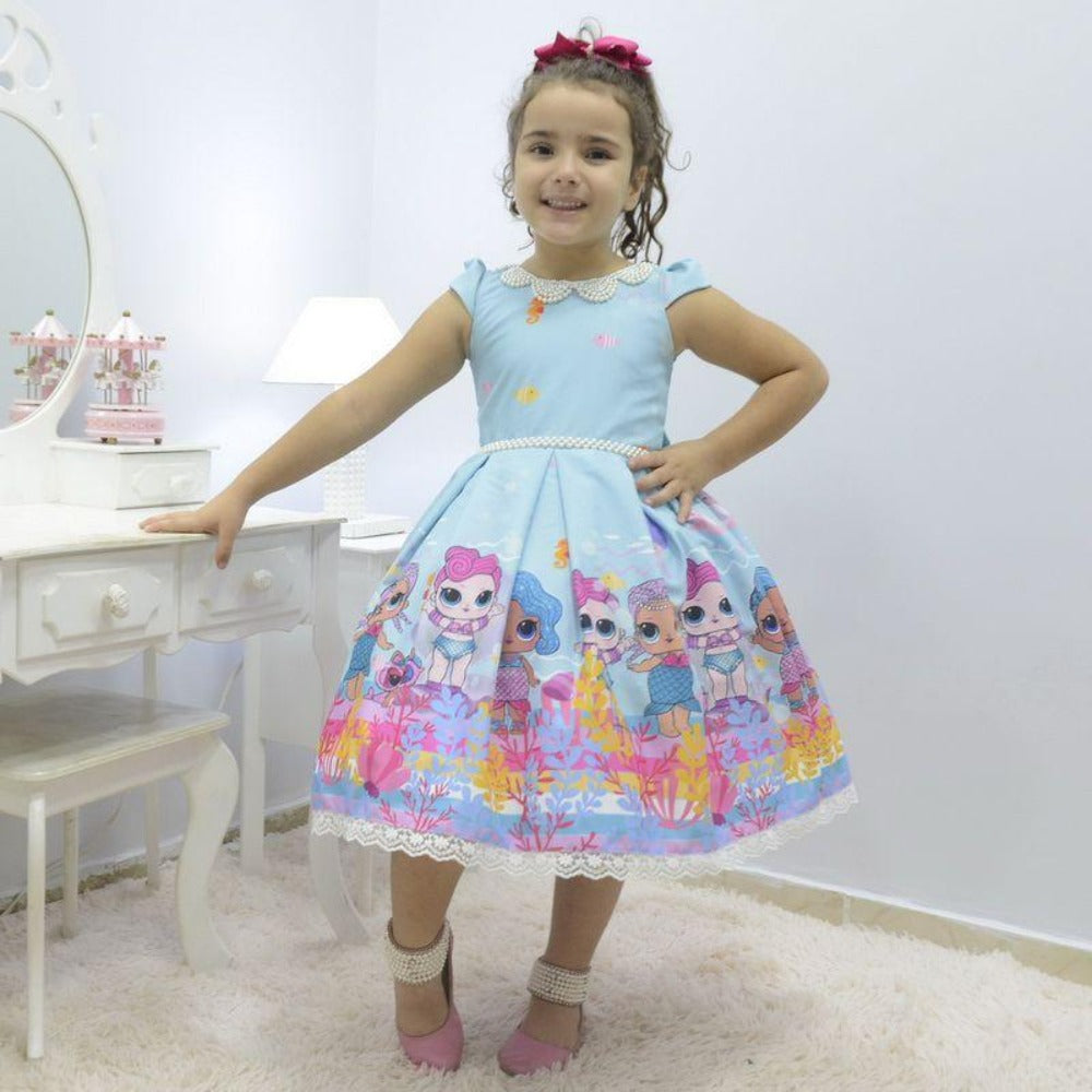 Girl S Dress Lol Surprise Doll Mermaid Splash Queen With Pearl Embroidery Birthday Party
