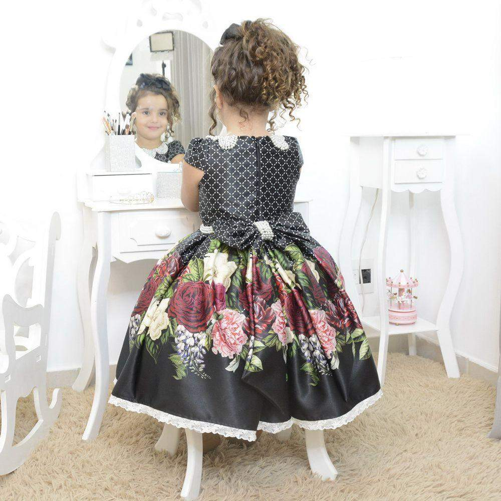 Girl/'s black floral dress with pearl embroidery formal party