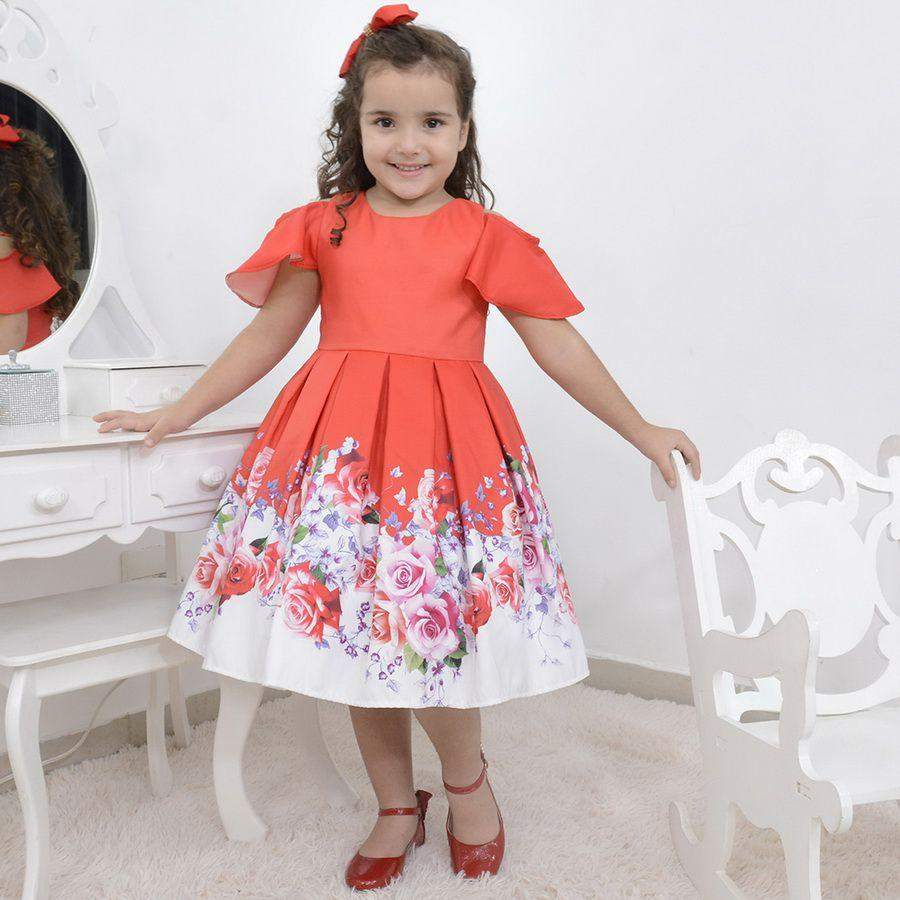 5f968f9be5474 Girl's red floral dress with white barred, formal party
