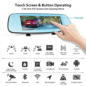 "7.84"" TOUCH SPECIAL CAR DVR CAMERA MIRROR GPS BLUETOOTH ANDROID DUAL LENS FHD 1296P FHD FRONT CAMERA AND 720P REAR VIEW RECORDER DASH CAM WITH AUTO"