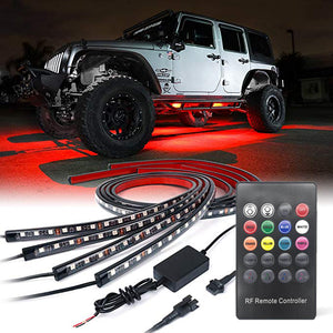 4 pcs Car Underbody System Neon Strip Lights