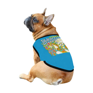 Skull Kiss Teal Dog Shirt