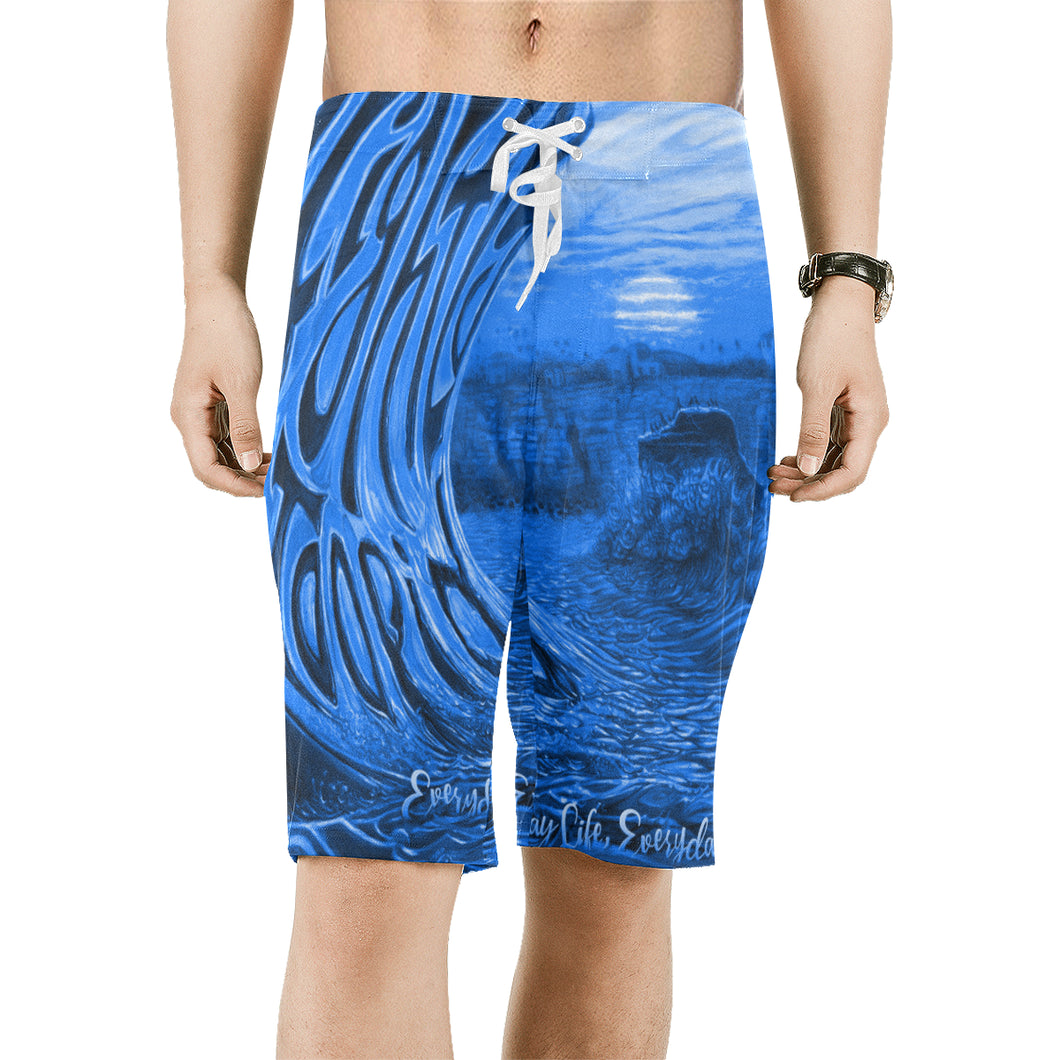 Blue ELEP Men's All Over Print Beach Shorts (Model L16)
