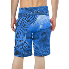 Load image into Gallery viewer, Blue ELEP Men's All Over Print Beach Shorts (Model L16)