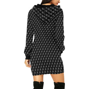 Smoking Skull Pattern Hoodie Dress